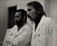 c. 1976, Trnava, the witness (right) with Ivan Balaďa during the shooting of a documentary film
