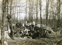 Anton Laššák (in the middle) - digging the trenches near Kursk