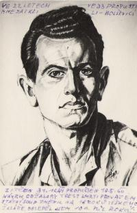 Luboš Hruška in labor camp Bytiz in 1955, drawn by cellmate Tonda Němec