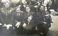 War front nurses in Prague in 1947 as graduates of nursing school. Cecílie is 2nd from left.