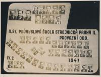 Stanislav Husa – leaving class portfolio, 2nd Secondary technical school of engineering Prague 2 (first from left in the second row, square photograph), historical photograph, 1947