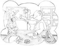 Karikatura ošetřovny u VÚ 9967 Beroun