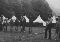 Skautský letní tábor u Manětínského potoka v létě 1969