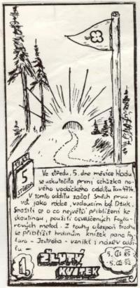Plakát k 7. výročí vzniku oddílu Žlutý kvítek, 1992