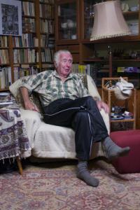 Manžel Zdeněk Šebek při natáčení rozhovoru s Věrkou, 2013