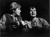 Malé divadlo Ústí nad Labem. Rudolf Felzmann (in the role of Peer gynt) and Eva Čejchanová (in the role of Aase). H.Ibsen: Peer Gynt (premiere 1978)