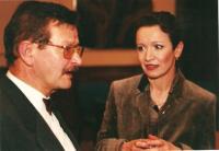 Municipal Theatre of Děčín. A meeting with actors after the performance. Rudolf Felzmann and Hana Maciuchová (ca. 2000)