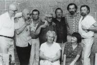 Václav Daněk s kolegy v Českoském rozhlase, 90. léta (zleva J. Hiršal, zprava R.Matys)