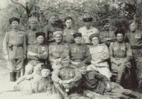 1945, may, Hrušovany u Brna, the military section of the Red army, Ján Novenko down on the right