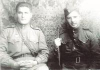 1945, Ján Novenko and the senior, a man who is about him on the front line taking care