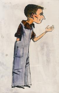 Fabinger Jiří - karikatura od Oty Maška 1958