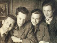Jiří Hovorka with friends (Kočík, Berounský and Lander)