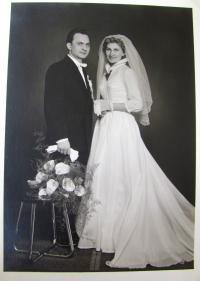 Břetislav Loubal, wedding, his wife Jadwiga, 1959