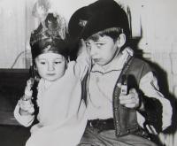 Mr. Loubal's children in masks, March 2, 1968