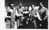 Members of Siloš Pohánka Orchestra in 1961 (from left  Alois Bouda, Imrich Kuruc, Mária Velšicová, Juraj Lehotský, Bohumil Trnečka)