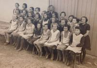 At the secondary school in Vranová Lhota in 1941. Anna Schreiber wearing glasses third from left in top row