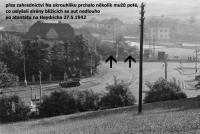 Směr útěku některých přihlížejících mužů nedlouho po atentátu na Heydricha (přes zahradnictví Na Okrouhlíku)