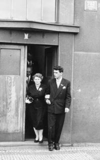 Jiří Beránek with mother, Jiří 's wedding, 1963