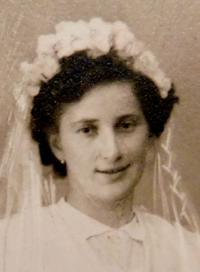 Františka Kyselá on her wedding day