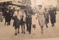 Zdena Freundová's family taking a walk (Prague, 1938)