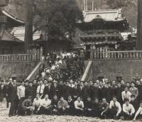On a trip with seminarians (his students) from the diocese; the Buddhist temple of Kamakura, early 1960s