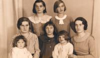 cca 1935 Szulc sisters - from top to left:  Eva, Irena +Zofie, Halina, Marie + Bibiana, Janina