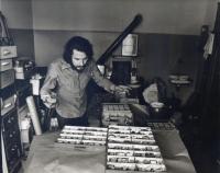Oldřich Hamera in the studio at Dr. Holý Square, 1970s