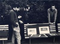Oldřich Hamera (left) with Vladimír Boudník and Vladislav Merhaut at Karlovo náměstí, before 1968