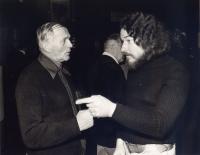 Oldřich Hamera with Bohumil Hrabal, around 1980