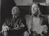 Oldřich Hamera with Bohumil Hrabal on their way to Ústí nad Orlicí, 1970s