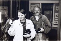 Oldřich Hamera with Věra Špánová-Boudníková in Český Krumlov, around 1990