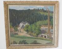 Obraz bavlnářské tkalcovny v Jedlí, kterou komunistický režim znárodnil rodině manžela Miloslava Bartoně