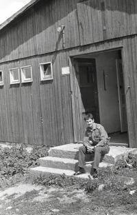 Marek Franěk at a military brigade, Zbytiny u Prachatic, 1981