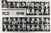Maturitní tablo, 1948 (Karel Fiala jako učitel nahoře 2. zleva)