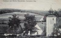 Fotografie z naučné tabule na Růženci. Kaple svatého Antonína Paduánského v osadě Růženec (Rosenkranz)