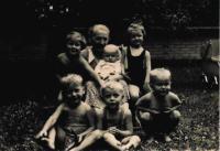 Babička Anna, zleva: Gabriela, Tomáš, Blanka, Miloš, Mirek, Jeník na zahradě ve Mšeně, 1950