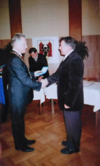 Miloslva Šváček během udělení medaile ceny měta Přerova
