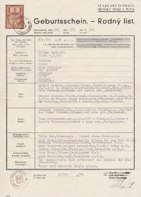 Rodný list Viléma Lederera