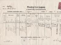 Rodný list Viléma Lederera (israelitská náboženská obec ve Volyni), levá část