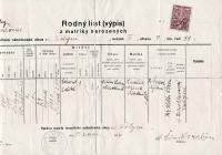 Rodný list Viléma Lederera (israelitská náboženská obec ve Volyni), pravá část