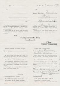Formulář Gestapa o zasílání pošty do vězení na Borech pro vězně Janu a Eduarda Ledererovy, 1944
