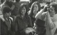 Zsuzsa Gáspár, Mariann Bálint (Kollár), Emőke Dobos, Péter Donáth and István Bálint at the airport, 1976