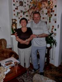 Anita with her husband Vojta at the home fireplace in Kraslice around 2005