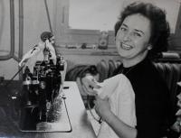 Anita in her job in Triola at her workplace, where she sat until retirement in Kraslice at the end of 1960s