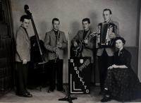 Rigoletto - kapala, ve které Anita zpívala, zleva Rudolf Theo, Ernst Böhm, K. Fucek, Rudolf Nemec; Klingenthal, 50. léta