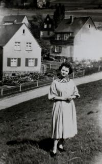 Anita on her way to church in Klingenthal in 1950s