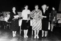 Colleagues from Triola, Anita on left and middle two seamstresses, on right their master Anna Křížová in Kraslice around 1970s