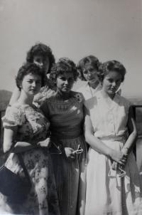 Work colleagues on a trip to Staxon Switzerland, Anita very left, in 1950s