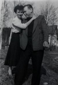 Anita with her uncle Josef Labský, who married mum´s sister, who took them during displacement to Klingenthal in Kraslice region in 1950s