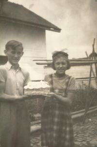 Prokop Šmirous with his sister Ivana at the family farm in Leština u Světlé